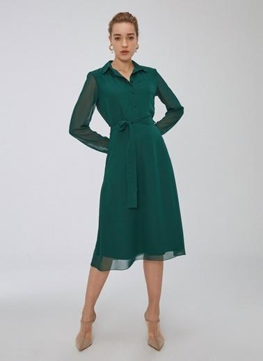 People By Fabrika Şifon Elbise Yeşil